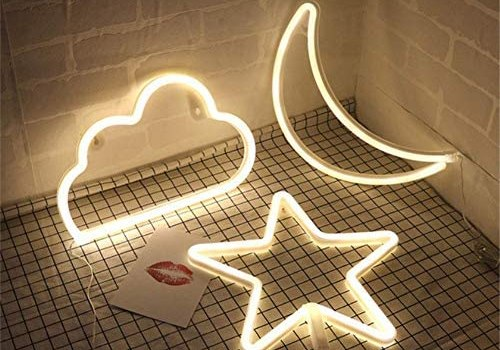 Star Moon and Cloud Neon Night Signs Decorative LED Light Art Wall Decor for Bedroom Birthday Halloween Party Powered by Batteries/USB(Yellow)