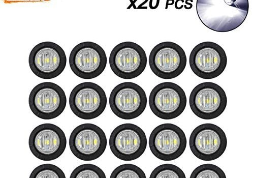 Meerkatt (Pack of 20) 3/4 Inch Miniature Round White LED Small Side Marker Clearance Lamp Indicator SMD Light Universal Waterproof Truck Trailer Marine Bus Camper Tractor black rubber grommets 12V DC