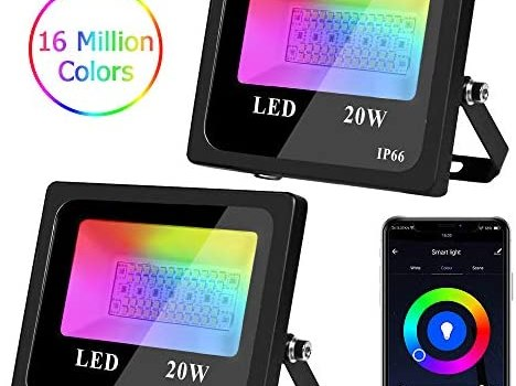 LED Smart Flood Lights 20W, RGBCW Color Changing, 2700K-6500K Dimmable Outdoor WiFi Color Changing Stage Light, IP66 Waterproof, Compatible with Alexa and Google Home (2 Pack)