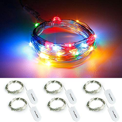 CYLAPEX 6 Pack Multicolor Fairy String Lights Battery Operated Fairy Lights Firefly Lights Micro LED Starry String Lights on 3.3ft/1m Silvery Copper Wire for DIY Christmas Decoration Costume Wedding