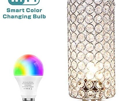 ZEEFO Crystal Table Lamp with WiFi Smart LED Bulb,7W Dimmable Color Changing Light Bulb Compatible with Alexa & Google Home, Elegant Decorative Bedside Table Lamps Ideal for Bedroom, Hotel, Party
