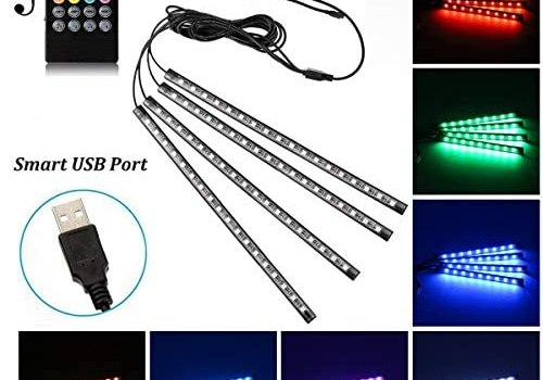 Car LED Strip Light, Uniwit 4 Pcs Multicolor Music Car Interior Atmosphere Lights for Car TV Home with Sound Active Function, Wireless Remote Control and Smart USB Port (48 LED-USB Port)