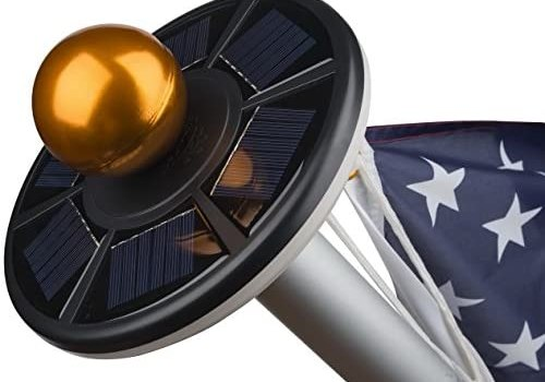 Sunnytech 2nd Generation Solar Flag Pole 20led Light, Brightest, Most Powerful and Stable, Longest Lasting & Most Flag Coverage, LED Downlight for Most 15 to 25 Ft In-Ground Flag Pole, Automatic,Black