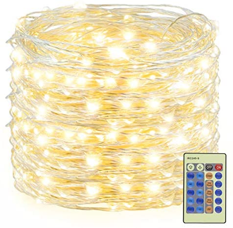 Decute 300 LED Fairy Lights 99ft Silver Wire Warm Christmas String Lights Remote Control, LED Firefly Lights Starry Light for DIY Christmas Tree Costume Wedding Party Table Centerpiece Decor