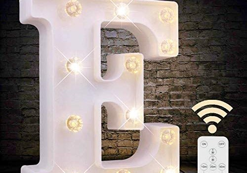 LED Letter Lights White Marquee Letters Alphabet Light Up Sign with Diamond Bulbs Remote Control Timer Dimmable Wedding Birthday Party Decoration Letters (E)