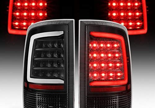 AmeriLite for 2009-2019 Dodge Ram 1500/10-19 Ram 2500 3500 Clear Black C-Type LED Tube Replacement Tail Light Assembly Set – Passenger and Driver Side