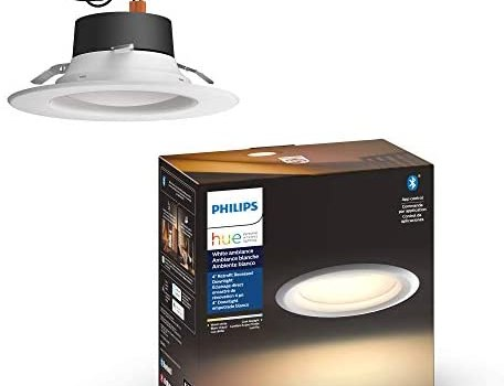 Philips Hue White Ambiance LED Smart Retrofit 4-inch Recessed Downlight, Bluetooth & Zigbee compatible, Warm-to-cool white light (Hue Hub Optional)