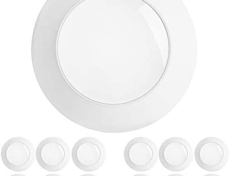 Freelicht 12 Pack 5/6 Inch Flush Mount LED Disk Light, 15W=120W, 5000K Daylight, 1100LM, Dimmable, Hardwire 4/6″ Junction Box, Recessed Retrofit Ceiling Fixture, Energy Star&ETL