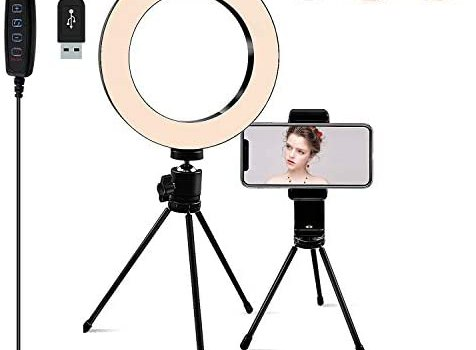 Ring Light [6.3 Inch] with Tripod Stand & Phone Holder,Dimmable 3 Light Modes Selfie Light,Camera Lights for YouTube/Photography/Makeup