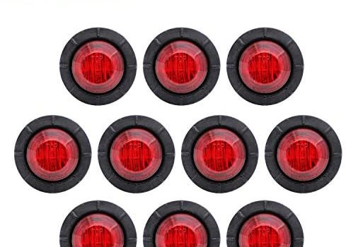 TMH 10 Pcs 3/4 Inch Mount Red LED Markers Bullet Marker Lights, Side Marker Lights, led Marker Lights, led Side Marker Lights, led Trailer Marker Lights, rv Marker Lights