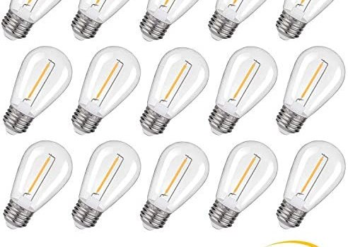 KGC Plastic S14 Replacement LED Edison Bulbs UL Listed -1W Equivalent to 10W, Non-Dimmable 2200K, No Glass Shatterproof & Waterproof Plastic Bulbs, E26 Base Vintage LED Edison Filament Bulb (15 Pack)