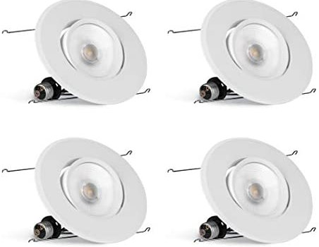 Hyperikon 6 Inch Rotatable LED Recessed Gimbal Lighting, 16.5W=75W, 5 Inch, Dimmable Downlight, Energy Star, Warm White, 4 Pack