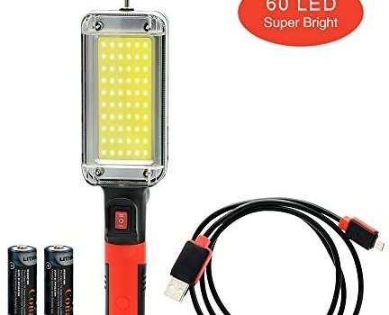 COBA LED COB Work Light with Magnetic Base and Hook – Portable Rechargeable Work Light with 18650 Batteries/700 lumens-for Industrial Construction,Car Repair,Emergency Use (Work Light)