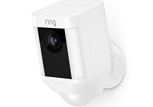 Ring Spotlight Cam Battery HD Security Camera with Built Two-Way Talk and a Siren Alarm, White, Works with Alexa