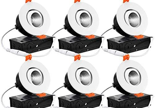 TORCHSTAR 6-Pack 3 Inch Gimbal LED Dimmable Recessed Light with J-Box, 7W (50W Eqv.) 500lm, Airtight, ETL/Energy Star/JA8/Title 24, CRI 90+, 3000K Warm White, 5 Years Warranty, White (Renewed)