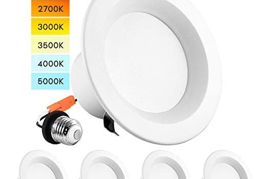 Luxrite 4 Inch LED Recessed Can Lights, Color Temperature Selectable 2700K   3000K   3500K   4000K   5000K, Dimmable Retrofit Downlights, 750 Lumens, Energy Star, Wet Rated, ETL Listed (4 Pack)