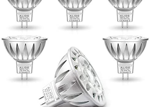 ALIDE MR16 7W GU5.3 Led Bulbs Replace 50W Halogen Equivalent,2700K Warm White,12V Low Voltage MR16 Bulb Spotlight for Outdoor Landscape Flood Track Recessed Lighting,Not Dimmable,560lm,38 Deg,6 Pack