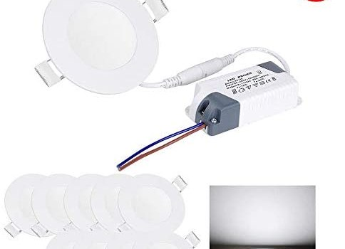 Yescom 3W 3″ LED Recessed Panel Ceiling Light Ultra-thin 200LM Cool White 25W Equivalent Downlight (Pack of 10)