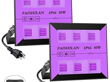FAISHILAN 2 Pack 50W LED Black Lights, UV Flood Lights with Plug & Switch, IP66 Waterproof Blacklights, Black Light for Parties, Body Paint, Fluorescent Poster