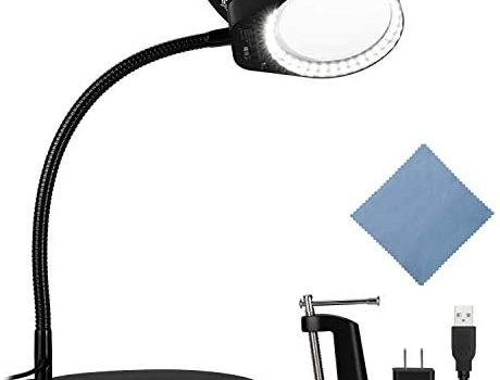 XpertMatic PD-4S Dimmable Magnifying Glass with 38 LED Lights, Anti-flip Base and Metal Clamp, 5 Diopter Genuine Glass with Flexible Gooseneck for Crafts and Hobbies, Close Work, Reading – 2.25X