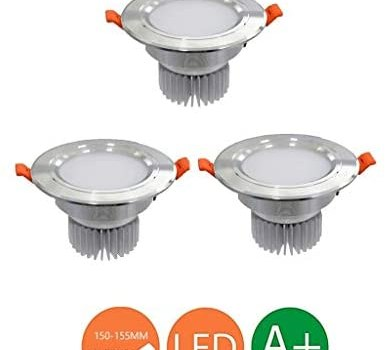 JJSFT 10 Pack Led Downlights Ceiling Round Spotlights 6000k Cold White 15w Hole Size 150-155mm for Bathroom Corridor Balcony Kitchen[Energy Class A++] (Color : Silver, Size : 3 Pack)