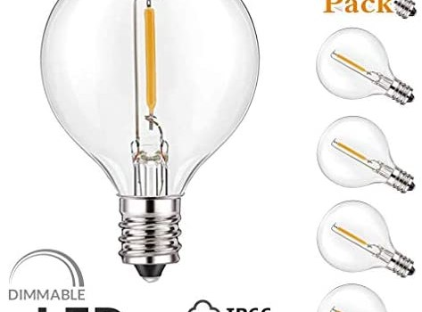 Shatterproof G40 Led Replacement Light Bulbs – E12 Base, Newpow 6 Pack Dimmable Edison Plastic Bulbs for E12 Base G40 String Lights, 1W Replacement Incandescent Bulb (5w – 15w), Warm Color 2700k