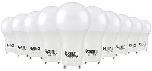 Sunco Lighting 10 Pack A19 LED Bulb, 9W=60W CFL Replacement, 3000K Warm White, 800 LM, Dimmable, Twist and Lock GU24 Pin Base, Indoor Light – UL