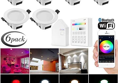 Smart Led Downlight Kit, FVTLED 6pcs Wireless Bluetooth 5W Dimmable Recessed Spot RGBWC Multicolor Color 5 in 1 Ceiling Spotlight with Touchscreen Smart Switch & and BT Mesh Smart Bridge