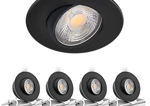 Led Gimbal Light 3 Inch 8W 700 Lumens IC Rated Gimbal Adjustable Recessed LED Downlight Energy Star ETL Approved (4Pack 2700K Soft Warm White, Black)