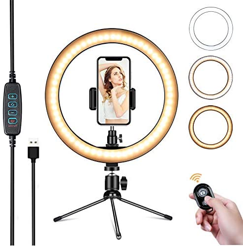 Powsure 10″ LED Ring Light with Tripod Stand & Phone Holder for Selfie, Makeup,Live Streaming & YouTube Video, Dimmable Desk Ringlight Kit for Photography with 3 Light Modes&10 Brightness Level