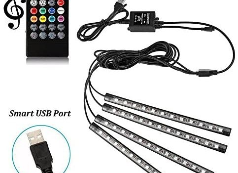 Car LED Strip Lights – SurLight 4pcs 48 LED Multicolor Music Car Interior Atmosphere Lights, USB LED Strip for Car TV Home with Sound Active Function, Wireless Remote Control and Smart USB Port