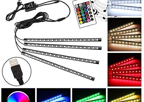 MYFAMIREA 16 Color RGB Car LED Strip Light, 4pcs 72 LED Multicolor Music Car Interior Atmosphere Lights Under Dash Lighting Kit, with Sound Active Function, Wireless Remote Control (USB)