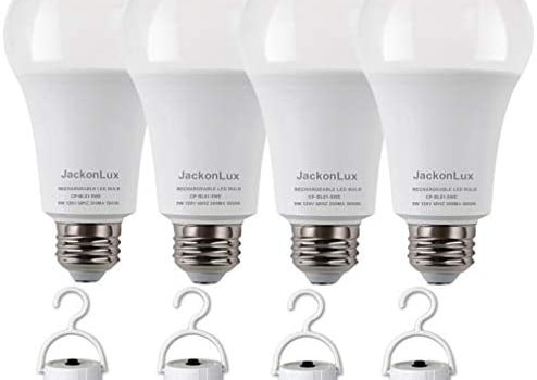 Rechargeable Emergency Light Bulb JackonLux UL Listed Battery Operated Light Bulb Power Outage Camping Reading Lighting Hurricane 9W 850 Lumens Daylight 5000K E26 120 Volt 4-Pack