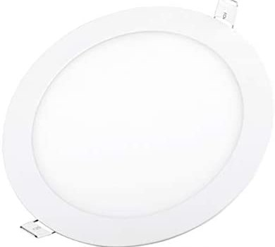 Aolyty Ultra Thin 18W LED Ceiling Panel Light 8″ Recessed Round Downlight for Home, Office, Mall, Low Energy Consumption Non Dimmable with Driver 6000K (18W, White)