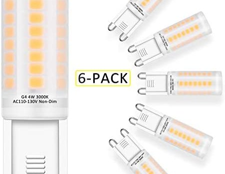 G9 LED Bulbs 4W – 40W Halogen Bulb Equivalent, G9 Base LED Light Bulb, Warm White 3000K Frosted Cover, AC120V CRI 83, Non-Dimmable, for Ceiling Fans, Chandeliers, Pendants 6-Pack