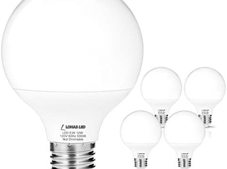LOHAS G25 LED Bulbs 75W-100W Equivalent, 5000K Daylight E26 Medium Base, Globe Shape, 1200LM Super Bright Vanity Light Bulbs for Bedroom, 12W LED Incandescent Bulbs Replacement, Not-Dimmable, 4Pack