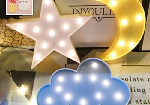 Decorative Night Lights for Kids,LED Crescent Moon Cloud Star Marquee Sign – Marquee Letters LED Lights for Kids Girls and Adults' Room Party Holiday Decorations(Yellow Moon-White Star-Blue Cloud)