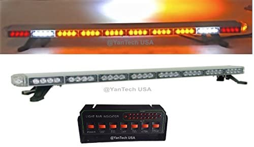 YanTech USA 50″ Amber Clear Super Bright LED Light Bar Flashing Warning Tow/Plow Truck Wrecker Police Snow Plow with Brake and Cargo Lights