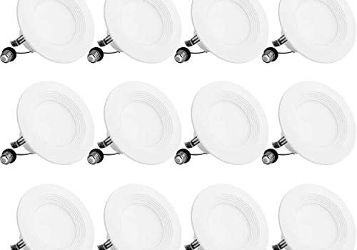 Bbounder Lighting 12 Pack 4 Inch LED Recessed Downlight, Baffle Trim, Dimmable, 9W=70W, 3000K Warm White, 650 LM, Damp Rated, Simple Retrofit Installation – UL + Energy Star No Flicker (Renewed)