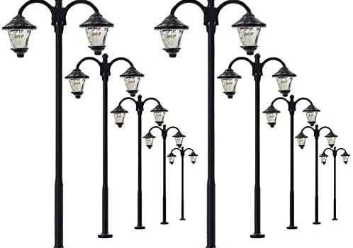 Evemodel LYM18 10pcs Model Railway Led Lamppost Lamps Street Lgihts HO Scale 6cm 2.36inch 12V New