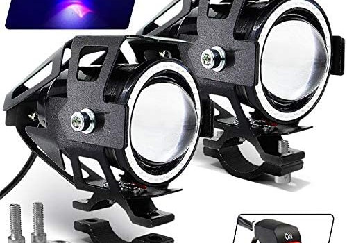 Motorcycle Headlight Cree U7 LED Fog Lights Spotlight Daytime Running Lights with Blue Angel Eyes Halo Ring and ON/Off Toggle Switch 2-Sets
