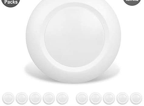 JULLISON 20 Packs 6 Inch LED Low Profile Recessed & Surface Mount Disk Light, Round, 15W, 900 Lumens, 3000K Warm White, CRI80, Driverless Design, Dimmable, Energy Star, ETL Listed, White