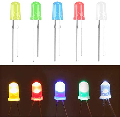(100 Pcs) MCIGICM 5mm LED Light Diodes, LED Circuit Assorted Kit for Science Project Experiment (Multi-Colored – 5 Color)