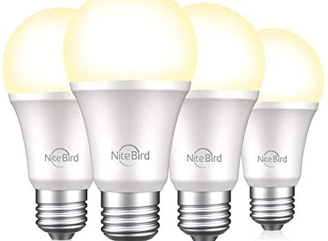 NiteBird Smart Light Bulb Compatible with Alexa Google Home, WiFi Dimmable Warm White 2700K LED Lights Bulbs, A19 E26, 75W Equivalent, No Hub Required, 4 Pack