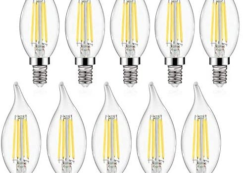 E12 LED Candelabra Bulbs Defurhome, 60W Equivalent, 5W, Flame Tip, 550LM, Daylight White 5000K, Non-Dimmable, Chandelier Filament Bulb, Candelabra Base, Decoration Glass Bulbs, Pack of 10