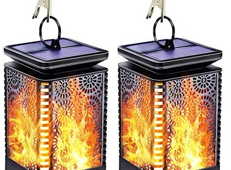 Solar Lights Outdoor Decorative, Flickering Flame Solar Lanterns Outdoor Hanging, Waterproof Retro LED Night Lights Dusk to Dawn Auto On/Off for Garden Porch Patio Deck Balcony Yard Pathway, 2 Pack