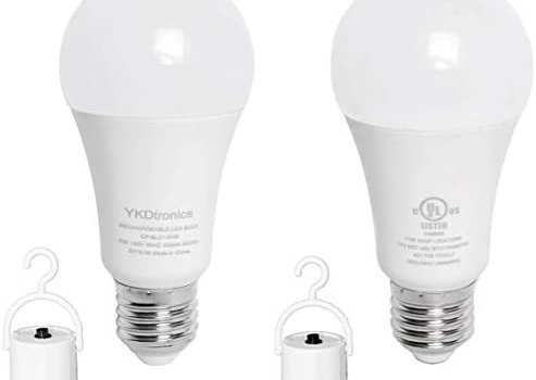 Emergency Lights YKDtronics 5W Backup LED Light Bulbs with Rechargeable Battery for Daily Use, Power Outage, Camping, Hurricane, Disaster Planning, 500Lumens 40W Equivalent Soft White 3000K 2Pack