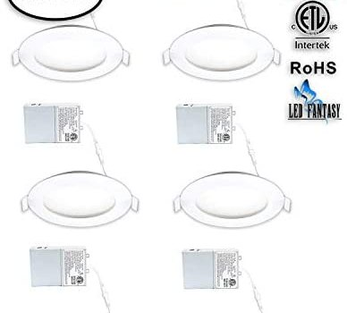LED FANTASY 4-Inch 9W 120V Recessed Ultra Thin Ceiling LED Panel Downlight Light Dimmable Retrofit Slim Wafer IC Rated ETL Energy Star 750 Lumens 5000K (Daylight) 6 Pack