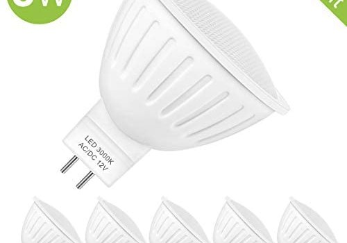 MR16 LED Bulb,12v 50W Equivalent Halogen Replacement Bulbs 3000K Soft White GU5.3 Bipin 5W 120-Degree,Energy Saving,Non Dimmable for Landscape and Track Lighting,6-Pack