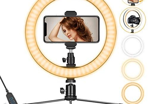 Ring Light 10″ with Stand & Phone Holder for YouTube Video, Dimmable Desk LED Ring Light with Cell Phone Holder for Photography, Shooting, Tiktok, Selfie (2020 New Version)